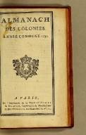 Almanach des colonies. : Année commune 1790
