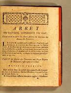 Arrets du Conseil supérieur du Cap, en date des 4 & 5 octobre 1773