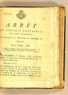 Arrêt du Conseil supérieur de Saint-Domingue. Concernant les mercuriales des sénéchaussées & amirautés. Du 1er. octobre 1788.
