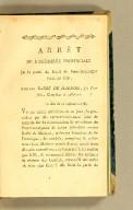Arrêt de l'Assemblée provinciale de la Partie du Nord de Saint-Domingue séant au cap, contre Barbé de Marbois, ses conseils, complices & adhérens. En date du 21 Septembre 1789