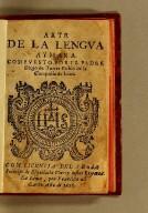 Arte de la lengua aymara. Compuesto por el padre Diego de Torres Rubio de la Compañia de Iesus.