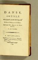 Danse. Article extrait d'un ouvrage - de M.L.E. Moreau de St-Mery. Ayant pour titre: Répertoire des notions coloniales. Par ordre alphabétique.