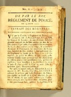 De par le Roi. Réglement de police. : Du 19 juin 1772