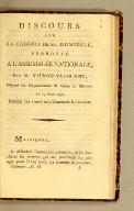Discours sur la colonie de St.-Domingue, prononcé à l'Assemblée nationale, par M. Viénot-Vaublanc, député du département de Seine et Marne, le 24 mars 1792; imprimé par ordre de l'Assemblée nationale.