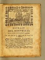 Extrait des nouvelles les plus remarquables des prises faites sur les anglois, par les François & les Espagnols