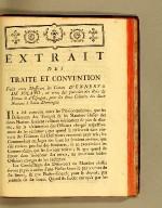 Extrait des traité et convention faits entre messieurs les comtes D'Ennery & de Solano, en vertu des pouvoirs des Rois de France & d'Espagne, pour les deux colonies des deux nations à Saint-Domingue