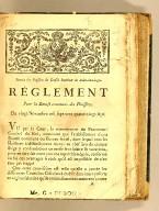 Extrait des registres du Conseil supérieur de Saint-Domingue. Réglement pour la bourse commune des Hussiers. Du vingt novembre mil sept cent quatre-vingt-sept.
