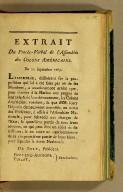 Extrait du procès-verbal de l'Assemblée des Colons Américains. Du 22 Septembre 1789