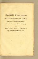 Fragment d'une lettre de Louis-Marthe de Gouy, : député à l'Assemblée nationale, adressée à ses commettans; ou, Seconde fustigation de Jean-Pierre Brissot