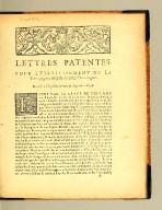 Lettres patentes. : Pour l'etablissement de la Compagnie royale de Saint Domingue. Données à Versailles au mois de Septembre 1698