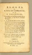Éloges de M. Turc de Castelveyre, et de M. Dolioules, : fondateurs des deux hospices appelés Maisons de providence, au Cap-Français, isle Saint-Domingue; par M. Moreau de Saint-Méry ... Ouvrage qui a remporté le prix, au jugement de la Société royale des sciences et arts du Cap-Français, au mois de juillet 1790.