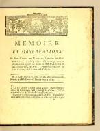 Memoire et observations du Sieur Barbé de Marbois, intendant des Isles-sous-le-vent en 1786, 1787, 1788, et 1789, : sur une dénonciation signée par treize de MM. les députés de Saint-Domingue, et faite à l'Assemblée nationale qa nom d'un des trois comités de la colonie