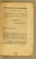 Message. : Extrait du registre des délibérations du Directoire exécutif. Du 11 prairial [i.e. 30 May 1797] , l'an cinquième de la République française