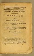 Opinion de Boisrond jeune, député de département du Sud de Saint-Domingue, sur le rapport de la commission, relatif aux élections faites en l'an 6 par le département du Nord de Saint-Domingue. Séance du 8 floréal an 7. [i.e., 27 April, 1799].