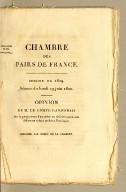 Opinion de M. le comte Lanjuinais sur la proposition d'accorder un sixième sursis aux débiteurs colons de Saint-Domingue. Imprimé par ordre de la Chambre