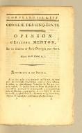 Opinion d'Etienne Mentor, sur les élections de Saint-Domingue pour l'an 6. Séance du 8 floréal an 7 [i.e., 27 April, 1799].