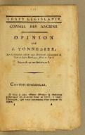 Opinion de J. Tonnelier, sur la résolution relative aux élections du département du Nord de Saint-Domingue, faites en l'an 6. Séance du 29 vendémiaire an 8 [i.e., 21 October 1799].