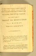 Projet de résolution par Duprat. Séance du 12 nivôse l'an V.
