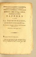 Rapportfait par Daubermesnil, au nom d'une commission spéciale, sur l'Assemblée électorale de l'Ouest, isle de S.-Domingue, tenue en l'an 6. Séance du 9 vendémiaire an 8 [i.e., 1 October, 1799].