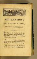 Réclamations des nègres libres, colons américains