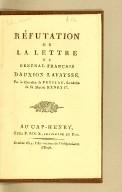 Réfutation de la lettre du général français Dauxion Lavaysse. Par le chevalier de Prézeau, secrétaire de Sa Majesté Henry Ier