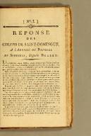Réponse des colons de Saint-Domingue, : a l'adresse de Polverel et Sontonax [sic], signée Belley