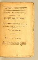 Seconde opinion de Couzard, député de la Gironde, sur lectidor an 7 [i.e., 26 August, 1799].s élections faites en l'an 6 dans la partie du Nord de Saint-Domingue. Seance du 9 fru