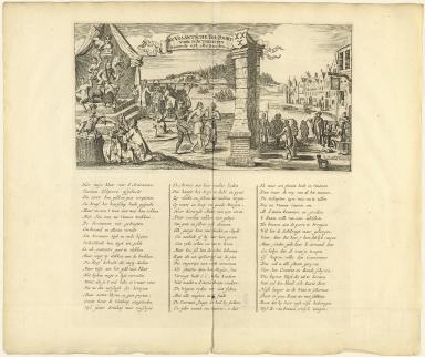 De Viaantsche tol-poort voor d'actionisten komende uyt alle steeden.