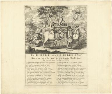 De ridder van het gilde kalf of hopman van de vroege en laate slacht tyd in optogt naar 't orakel van Delfos.