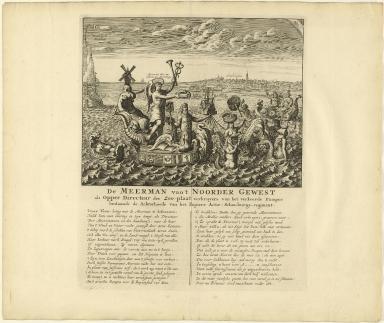 De meerman van 't noorder gewest als opper directeur der zee-plaat verkruyers van het verkeerde Pampus beslaande de achterhoede van het papiere actie-schouburgs-regiment.