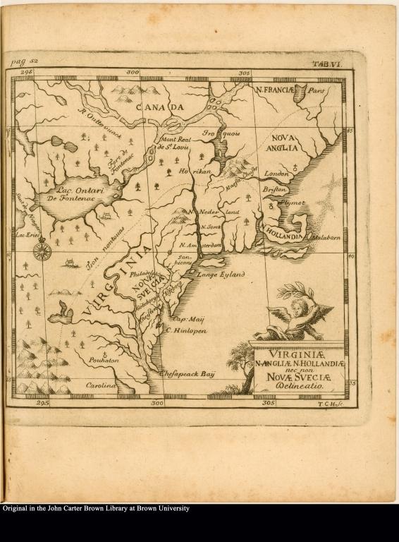 Virginiae N. Angliae N. Hollaniae nec non Novae Sveciae Delineatio.