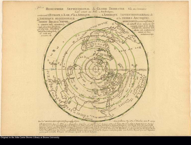 Hemisphere Septentrional du Globe Terrestre veu en Concave L'oeil estant au Pole AntArctique ...
