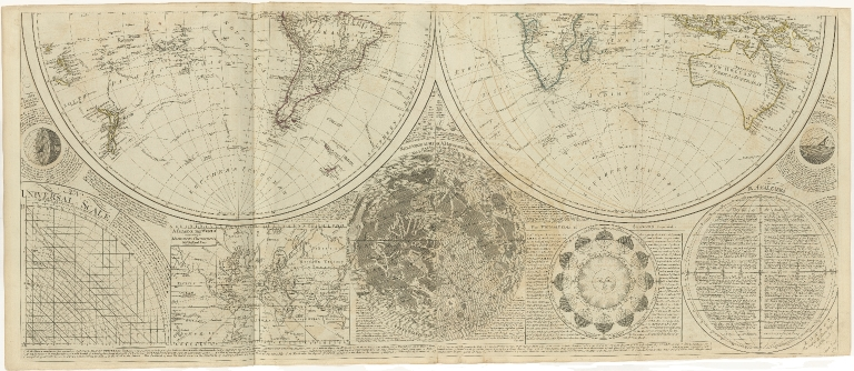 [A general map of the world or terraqueous globe with all the new discoveries and marginal delineations, containing the most interesting particulars in the solar, starry and mundane system by Saml. Dunn, Mathematician.]