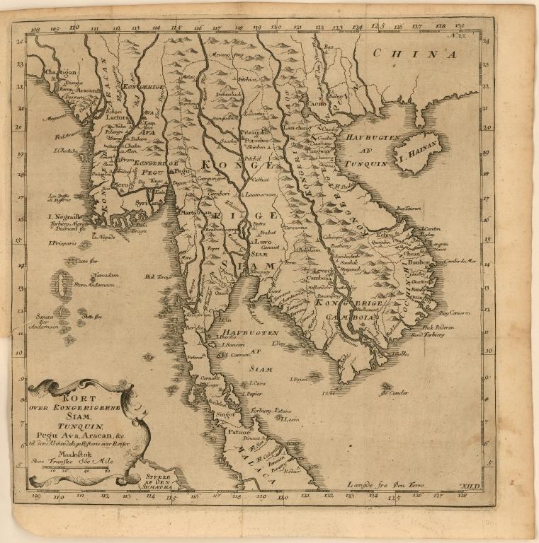 Kort over Kongerigerne Siam, Tunquin, Pegu Ava, Aracan, &c. til den Almindelige Historie over Reiser.
