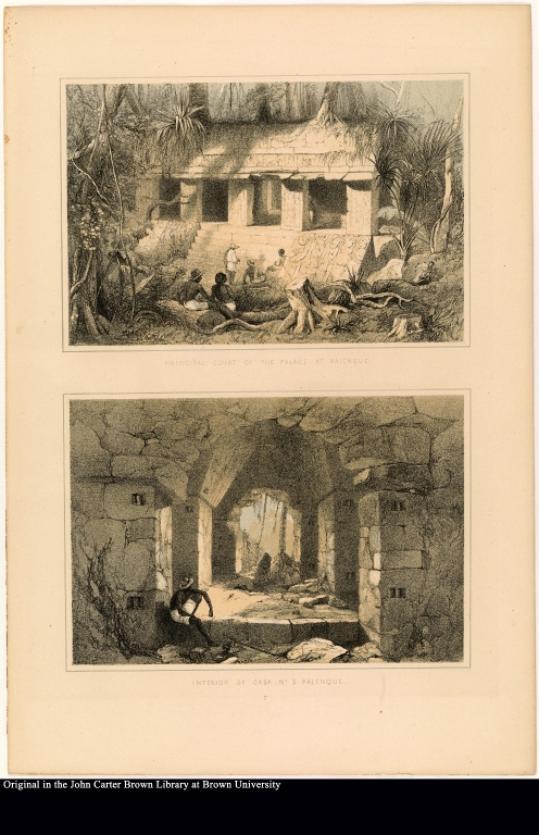 [top] Principal court of the plalace at Palenque [bottom] Interior of Casa, No. 3 Palenque