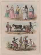 20. Cinq femmes esclaves se rendant à leur église un jour de fête. ... 21. Un esclave du gouvernement chargé de la propreté des rues. 22. A gauche, une marchande de kabbeljaauw ou morue, à droite, une verdurière; au milieu, une jeune créole laitière; dans le fond, une revendeuse.