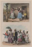 23. Un maître de danse créole, enseignant des pas à une esclave négresse et à une créole. 24. Des personnes de qualité se rendant à l'église.