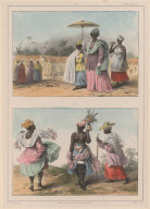 25. Une missie, menant son enfant au baptême, suivie et précédée de deux jeunes esclaves. 26. Une jeune négresse esclave, portant un bouquet pour une fête; à gauche, un missie ou ménagère en grand costume; à droite, une vieille missie.