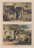 32. A gauche, la boutique d'un vette-warier ou détaillant; à droite, la boutique d'un snerie ou tailleur. ... 33. Atelier d'un cordonnier; à gauche, une vieille négresse filant du coton; à droite, un nègre libre se faisant prendre mesure de soulier; au milieu, un esclave travaillant à une chaussure