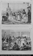 [top] Les refraichissemens de l'après diner sur la Place du Palais. [bottom] Une visite a la campagne.