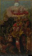 Recivelo Motezuma en hombros de Reyes, y ofrecele dones