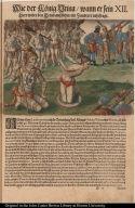 Wie der König Vtina wann er sein heer wider den Feind aussführt ein Zauberer rahtfragt.