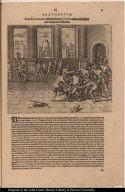 Franciscus Pizarrus lässt den König Atabaliba wider verheissene trew und glauben auff hencken.
