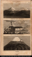 [top] Chimborazo and Carguairazo. [middle] Boat on the River Guayaquil. [bottom] Cotopaxi.