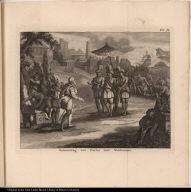 Ontmoeting van Cortes met Montezuma.