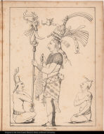 """[Palenque relief. Noble or king with two """"commoners""""]"""