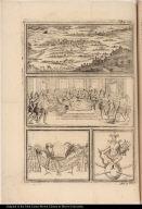 [Vignettes of Tenochtitlan, native American feast, symbols of office, and Aztec god (?)]