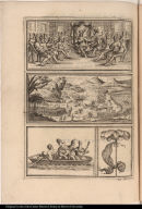 [Vignettes of native American ruler, scene of warfare, native Americans in a boat]