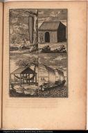 [Figure de la Couleuvre d'environs 5. pieds de long.; Case couvert de branches de Palmes; Carbet; Piraugues]