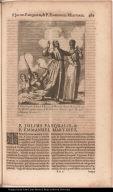 P. Iulius Pasqualis Italus, et P. Emmanuel Martinez illustri Prosapiâ Lusit: Soc: Iesu, sagittis confixi ab Idololatris in America apud Varohios 1. Februarij A. 1632